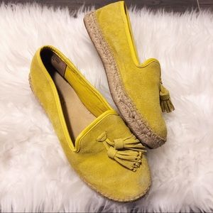 Talbots espadrille yellow suede flats!